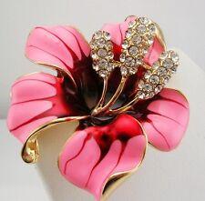 """Joan Rivers Enamel & Crystal Flower Pin    2"""""""