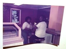 Vintage 70s Found Color Photo Black African Man & Woman Eating At Old McDonalds