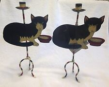 2 Primitive Style Black Cat Candlestick Candle Holders Metal Halloween 14.5""