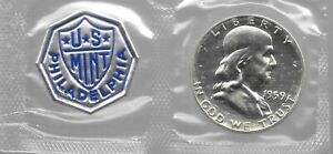 90% Silver 1959 Proof Franklin Half Dollar In Mint Cello