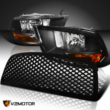 09-12 Dodge Ram 1500 Crystal Black Headlights+Bumper Mesh Hood Grille