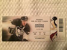 Pittsburgh Penguins/Arizona Coyotes Ticket Stub 2/29/16 Featuring Evgeni Malkin