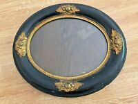 """ANTIQUE Fancy OVAL WOOD FRAME Dark Brown GOLD GILT CARVINGS Glass 13.5"""" x 11.5"""""""