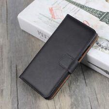 Huawei p10 Lite Wallet Case Genuine Split Cuir Veritable Book Étui Housse Noir
