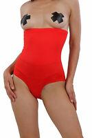 Culotte slip taille haute rouge effet ventre plat sexy glamour rétro pinup