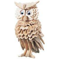 3D Wooden Owl Puzzle Jigsaw Woodcraft Kids Kit Toy Model DIY Construction B Y5E8