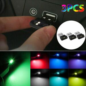 3PCS Mini USB LED Color Changing Car Interior Light Neon Atmosphere Ambient Lamp