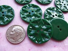 8 GREEN CARVED SNOWFLAKE VINTAGE CASEIN BUTTONS NOS SEWING KNITTING CRAFTS 22mm