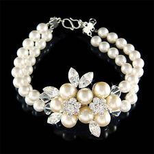w Swarovski Crystal Flower Floral Pearl Brooch 2 Strand Row .925 Silver Bracelet