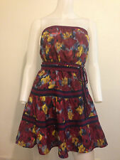 NEW BOHO RETRO VINTAGE ABSTRACT FLORAL FLOWER TUBE DRESS MOD CHIC URBAN MEDIUM