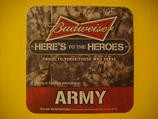 2012 Beer Coaster Bar Mat ~ Anheurser-Busch BUDWEISER ~ Here's to Heroes <> ARMY