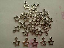 Paquet de 50 Pièces Plaqué Argent 10 mm Star Charms/Pendentifs
