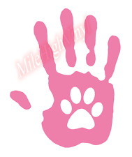 Hand Print Paw Love Glass Vinyl Window Decal Sticker Car Truck