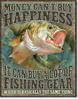 Fishing Happiness Bass Fishing Lake Hunt Cabin Rustic Wall Decor Metal Tin Sign
