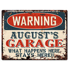 PPFG0551 WARNING AUGUST'S GARAGE Tin Chic Sign Home man cave Decor Funny Gift