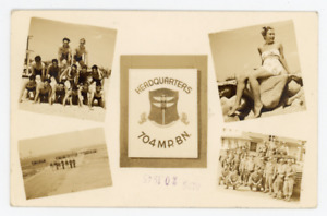 WWII US Army soldier photo postcard, Camp Edwards,Falmouth MA military,Cape Cod