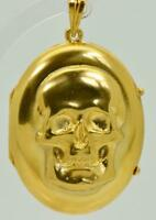 Rare antique Victorian 18k  gold MEMENTO MORI SKULL locket pendant.15g heavy!
