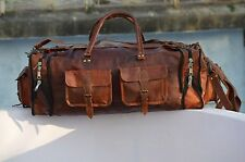 NEW Large Men's genuine Leather luggage gym weekend overnight duffle bag vintage