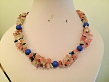 """Blue Shell Pearl and Mixed Stone Nugget 16"""" Beaded Necklace"""