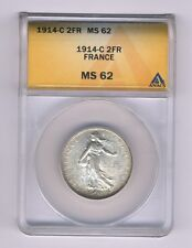 FRANCE  1914-C  2 FRANCS SILVER COIN, UNCIRCULATED, ANACS CERTIFIED MS-62