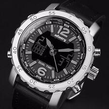 INFANTRY Mens Digital Quartz Wrist Watch Chronograph Sport Army Black Leather US