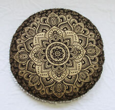 "28"" Handmade Black Golden Mandala Round Floor Pillow Cover Cushion Pouf Covers"