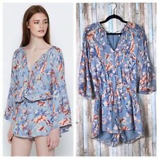 01c6173991ed Joie S Blue Floral Pintucked Pleated 100% Silk Chiffon Mani Romper Playsuit   398