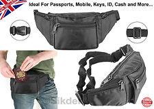 Nuevo Negro Riñonera Con 4 bolsillos con cremallera bolsa de claves de seguridad Safe pasaporte dinero *