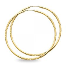 14k Yellow Gold Big Round Endless Hoop Earrings Diamond Cut Satin Polished Solid