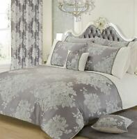 FLORAL JACQUARD SILVER GREY WHITE KING SIZE DUVET COVER
