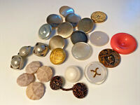 Mixed Buttons Lot Gold Metal Knight E Shield Plastic Vintage Jacket Large Craft