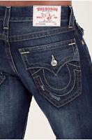 True Religion Men's Slim Fit Straight Jeans w/ Flap Back Pockets in Lost Lagoon