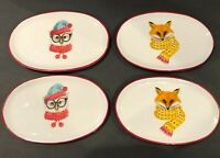 MAGENTA Booville Angela Staehling Christmas Oval Plates Lot Of 4 Owl Fox New