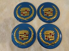Cadillac Wire Wheel Cover Center Cap Medallions, 4pc Set BLUE & GOLD