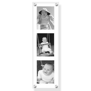 """22""""x6"""" acrylic wall holder/picture frame for your 3 photos with printing service"""