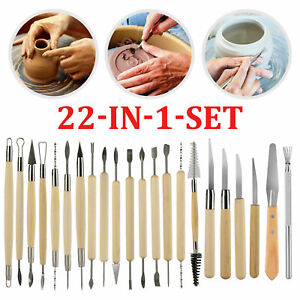 22in1 Clay Sculpting Set Pottery Carving Tools Polymer Modeling Ceramics Art Kit
