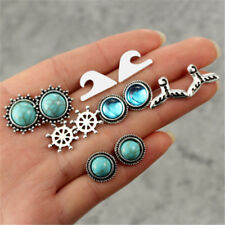 6Pairs Vintage Mermaid Tail Rudder Gemstone Crystal Earrings Ear Studs Jewelry