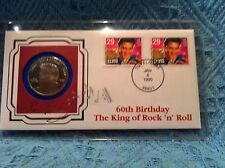 NOS ELVIS PRESLEY 60TH BIRTHDAY MARSHALL ISLANDS STAMP AND $5.00 COIN FLEETWOOD