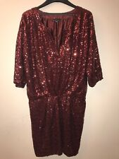 VICTORIA'S SECRET GATHERED SPLIT-NECK DRAPE SEQUIN DRESS  - SIZE MEDIUM PURPLE
