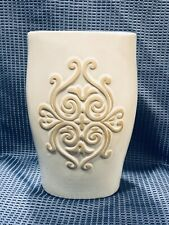 "Decor Hosley Scroll Double Sided Oval Design Glazed Vase Cream & Tan 9 1/4"""
