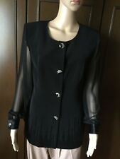 Elegant jacket MUSANI Woman black color, size 46, the sleeves are made of silk
