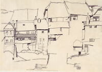 Egon Schiele - Sketch of Town Vintage Fine Art Print
