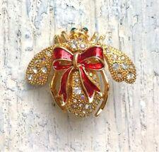 Joan Rivers Holiday Bow Bee Pin Rare