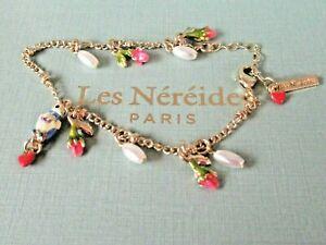FRENCH BRAND- 14K Gold Plate Enamel  BIRD & ROSEBUDS Bracelet