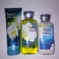 Set of 3 Bath & Body Works Tahiti Island Dream Cream Shower Gel Lotion Full Size