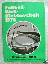 1974 World Cup BRAZIL v EAST GERMANY, 26 June in Hannover (Original* VG)