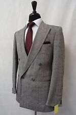 Men's PECCI Collection Grey Double Breasted Suit 38R W30 L27 CC5107