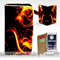 For OPPO Series - Fire Flame Theme Print Wallet Mobile Phone Case Cover