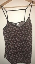 Ladies Black With Pink Roses Cami Top Size 10 H&M<NH9389