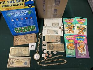 Junk Drawer Lot Three Cent Silver Mixed Foreign Paper Westclox Pocket Watch Etc